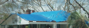 Blue roof tarp